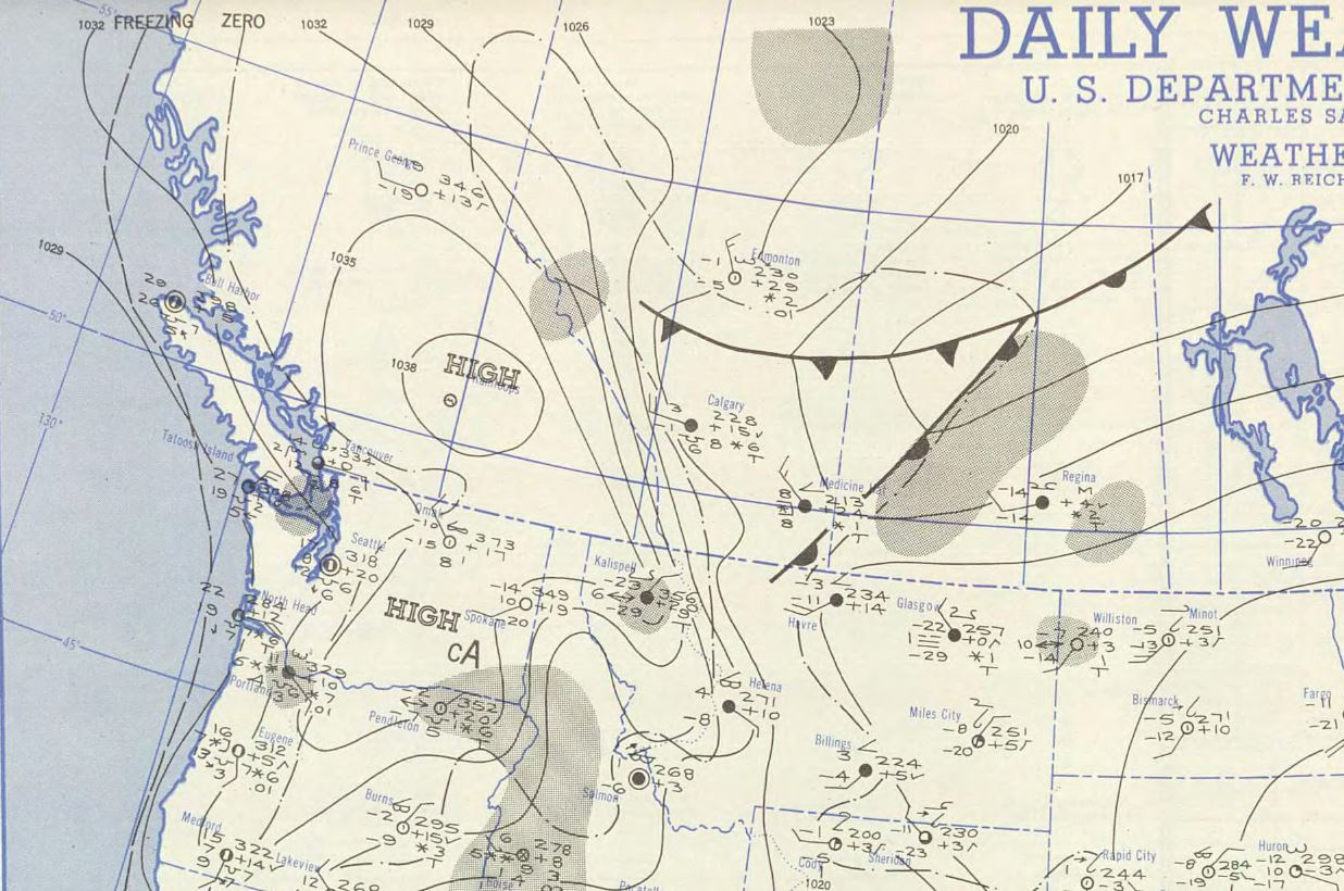 National Weather Bureau Maps showing the weather pattern on Jan. 31, 1950