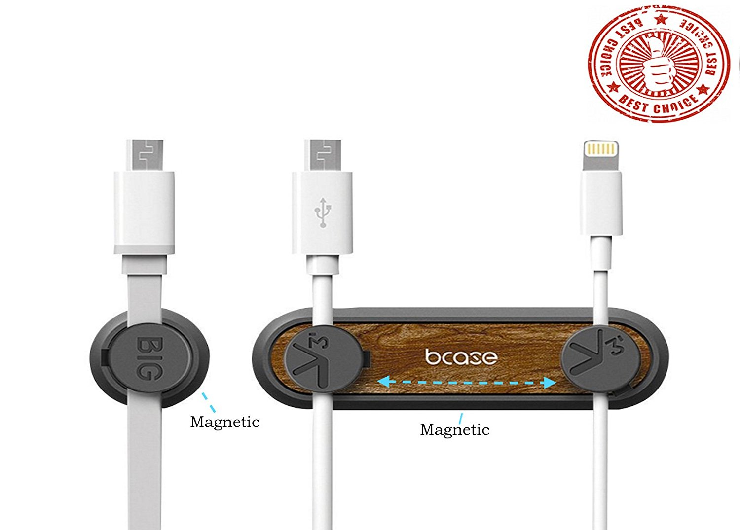 Magnetic Cable Clips, Alaxy Multipurpose Desktop Cord Management System Cable Organizer with 3 Cable Buckles & 2 Bases for Cell phone Cable, Mouse Cord . $8.99 on Amazon Prime (Image courtesy of Amazon).
