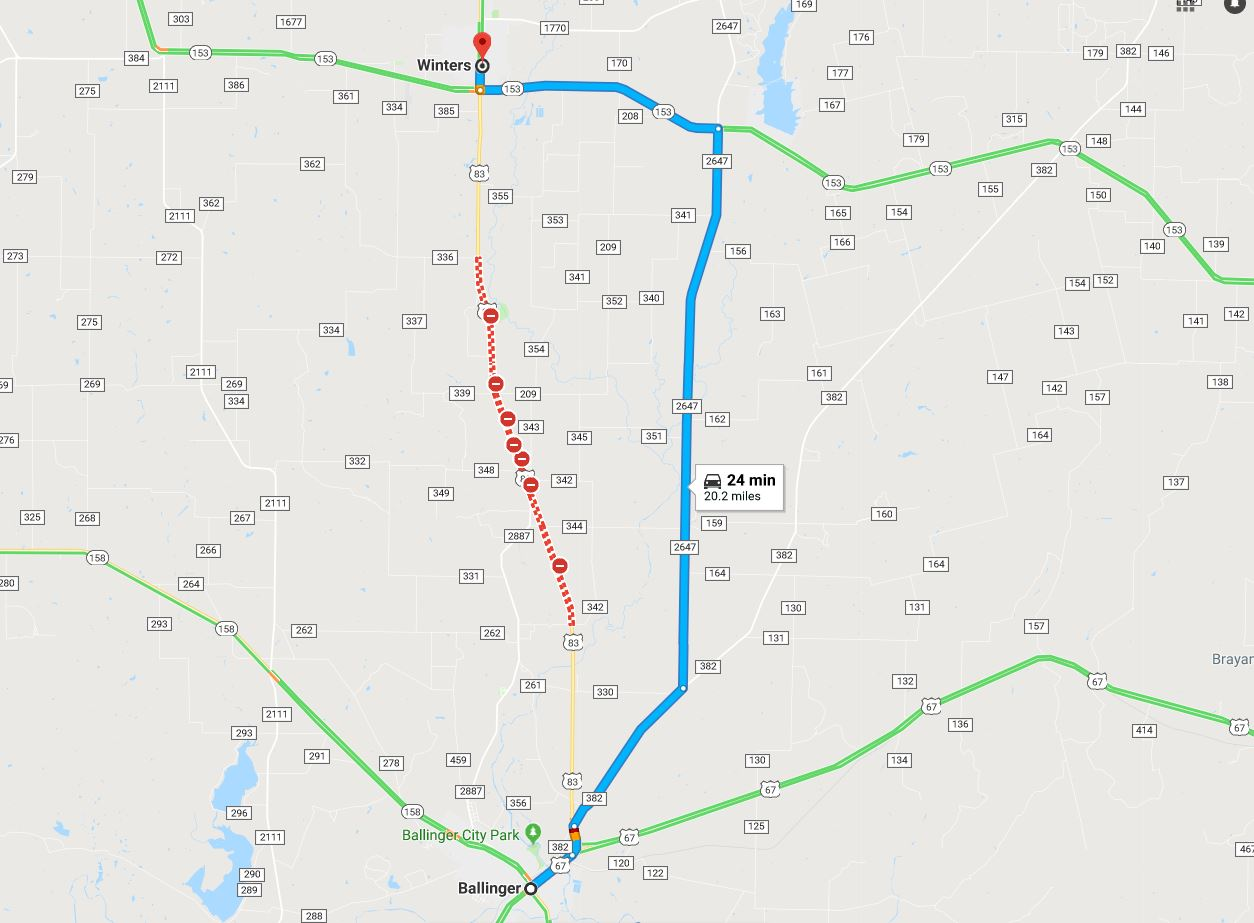 Hwy 83 closed between Winters and Ballinger - fatest detour