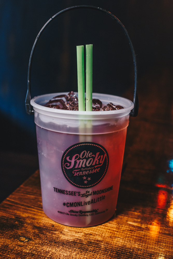 Jesus Juice: Ole Smoky White Lightnin' Moonshine, Tanqueray Gin, Bacardi Rum, Midori Fruit Liquor, Tito's Vodka, and huckleberry juice / Image: Catherine Viox // Published: 3.7.19