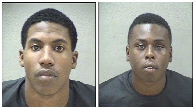 Kevin Hilliard (left) is charged with resisting arrest. Abrahem Gadiage (right) is charged with felony possession of a concealed weapon and possession of marijuana. (Mugshots: Lynchburg Police)<p></p>