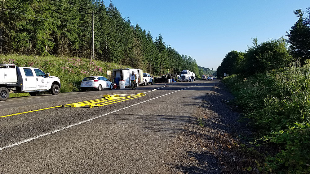A fuel truck crashed on Highway 99W, spilling gasoline and diesel fuel on the highway, July 7, 2017. (SBG)
