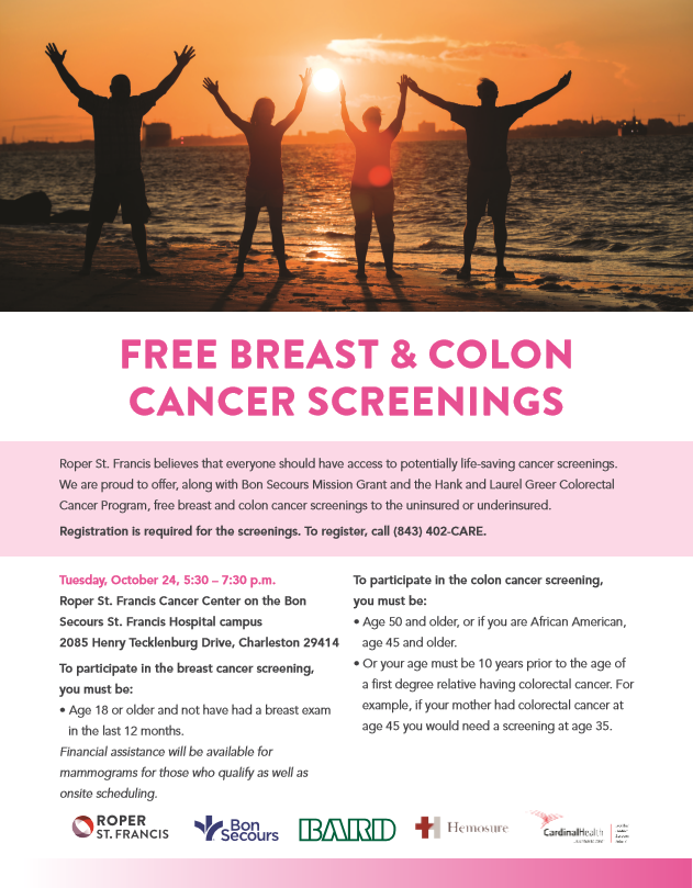 Free breast cancer screening flyer (Roper St. Francis)<p></p>