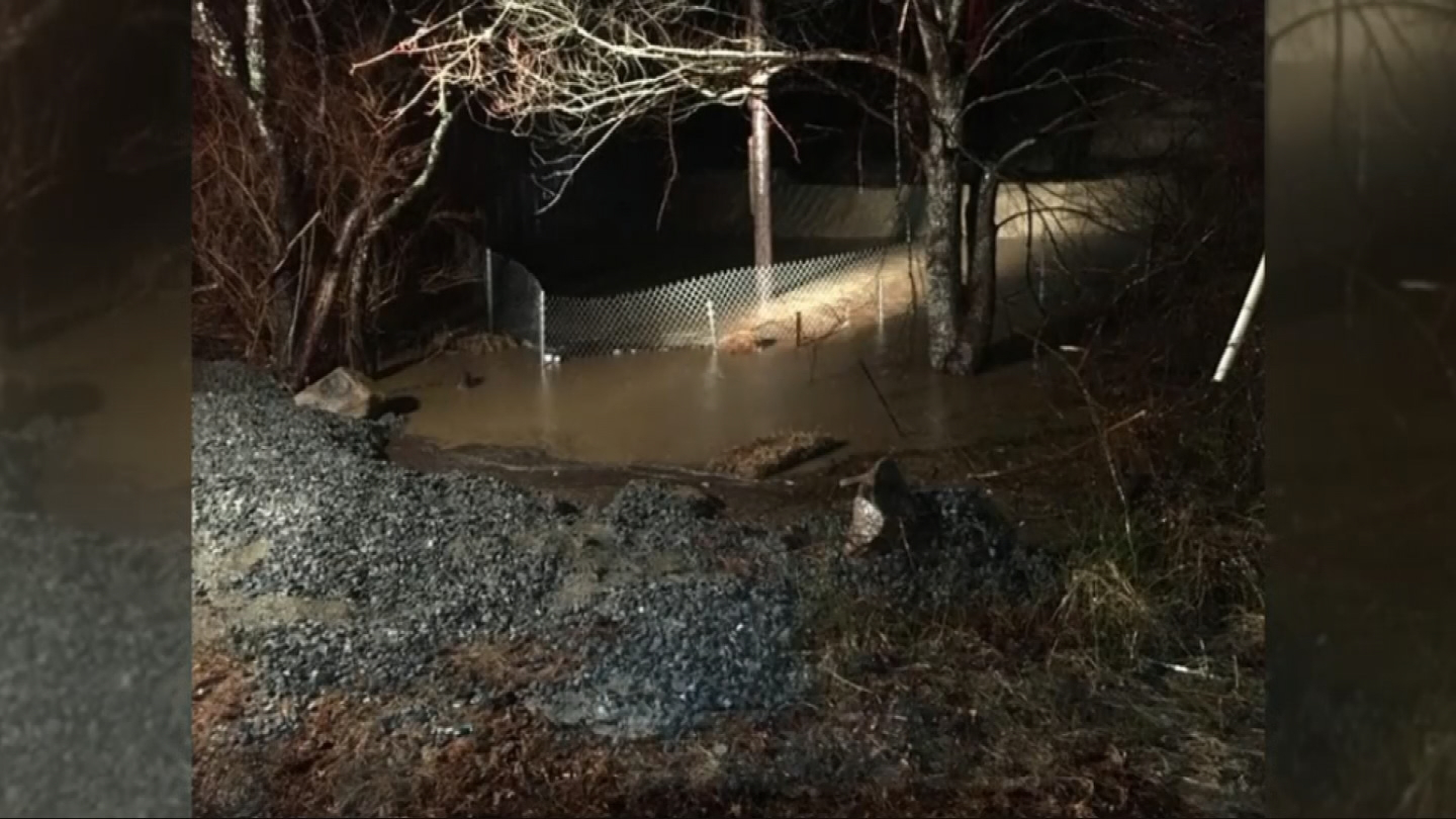 A Westport family of seven is upset, as water at nearby construction site has overflowed and flooded their property. (Submitted photo)