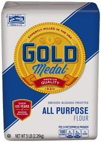 2 pound Gold Medal All Purpose Flour Package UPC 000-16000-10710 Recalled Better if Used by Dates 25MAY2017KC thru 03JUN2017KC  5 pound Gold Medal All Purpose Flour Package UPC 000-16000-10610 Recalled Better if Used by Dates 25MAY2017KC, 27MAY2017KC thru 31MAY2017KC, 01JUN2017KC, 03JUN2017KC thru 05JUN2017KC, 11JUN2017KC thru 14JUN2017KC  10 pound Gold Medal All Purpose Flour Package UPC 000-16000-10410 Recalled Better if Used by Dates 02JUN2017KC,  03JUN2017KC  10 pound Gold Medal All Purpose Flour- Banded Pack  Package UPC 000-16000-10410 Recalled Better if Used by Dates 03JUN2017KC, 04JUN2017KC, 05JUN2017KC                                       (Courtesy: General Mills)