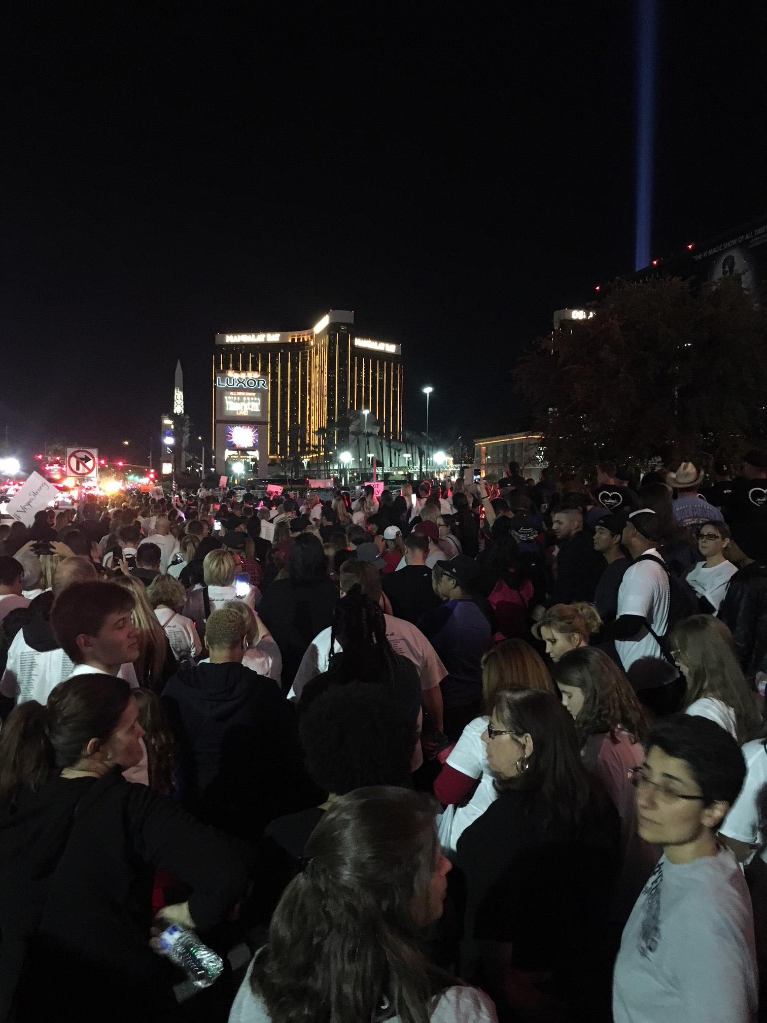 Marchers walk down the Las Vegas Strip on Sunday, October 15, 2017, in honor of the victims of the 1 October shootings. (Photo courtesy of Melissa Novikoff)