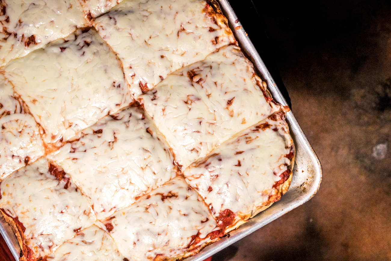 Sicilian style cheese pizza - baked three times to perfection / Image: Catherine Viox