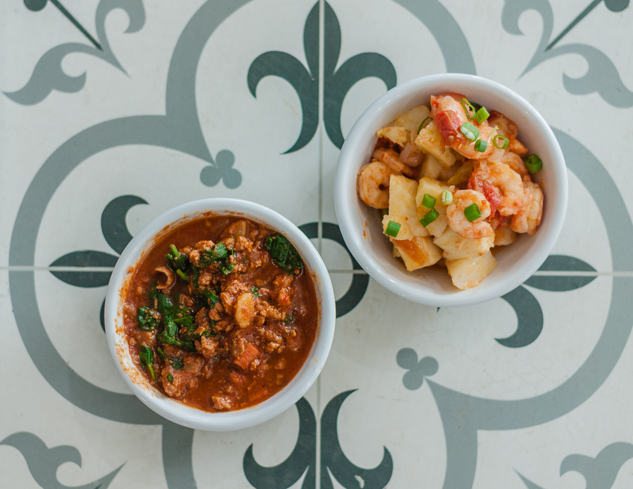 Chicken & chorizo chili and a baked potato & shrimp dish{&nbsp;}/ Image: Kellie Coleman // Published: 1.7.21<p></p>