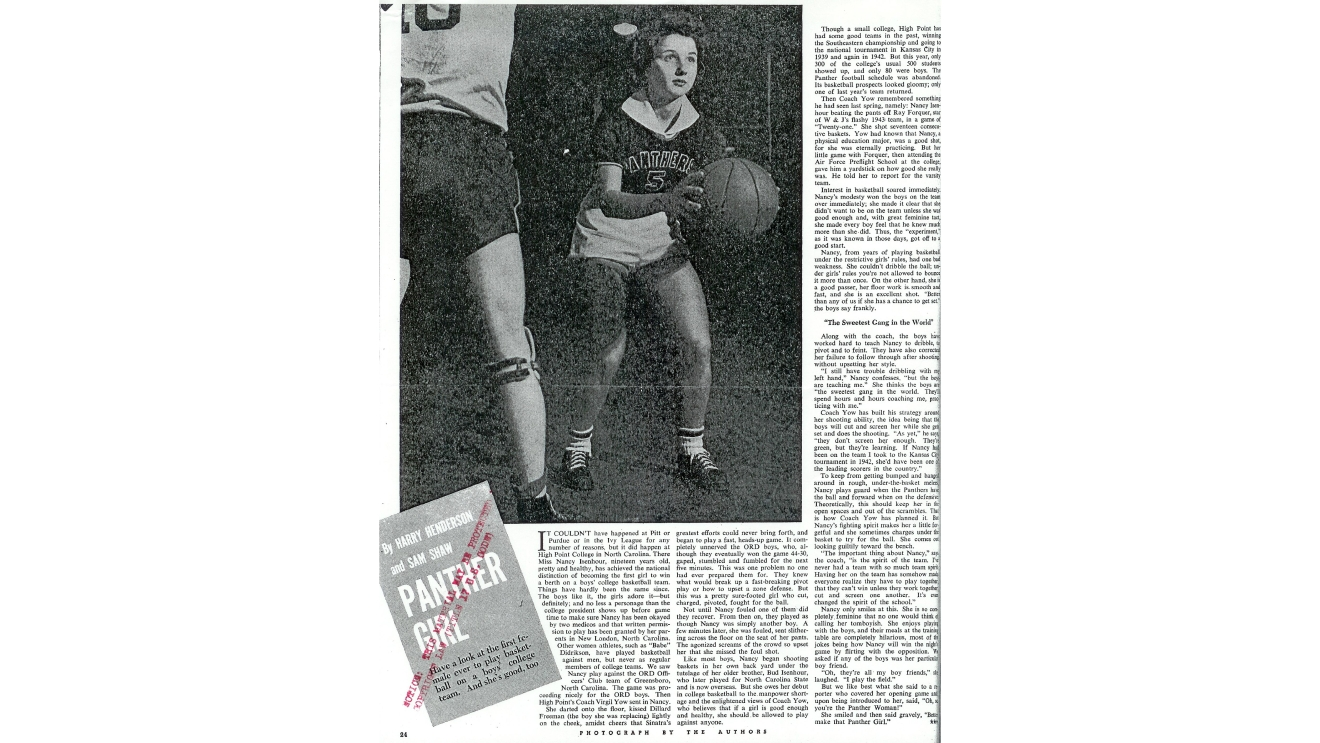 "Nancy Isenhour, who often played with a ribbon and white flower in her hair, earned the nickname ""Panther Girl"" from the headline on a 1944 profile of her in Collier's Magazine. (Courtesy High Point University Archives)"