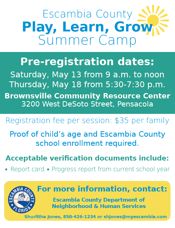 (Flyer for Play, Learn, Grow Summer Camps provided by Escambia County Public Information)