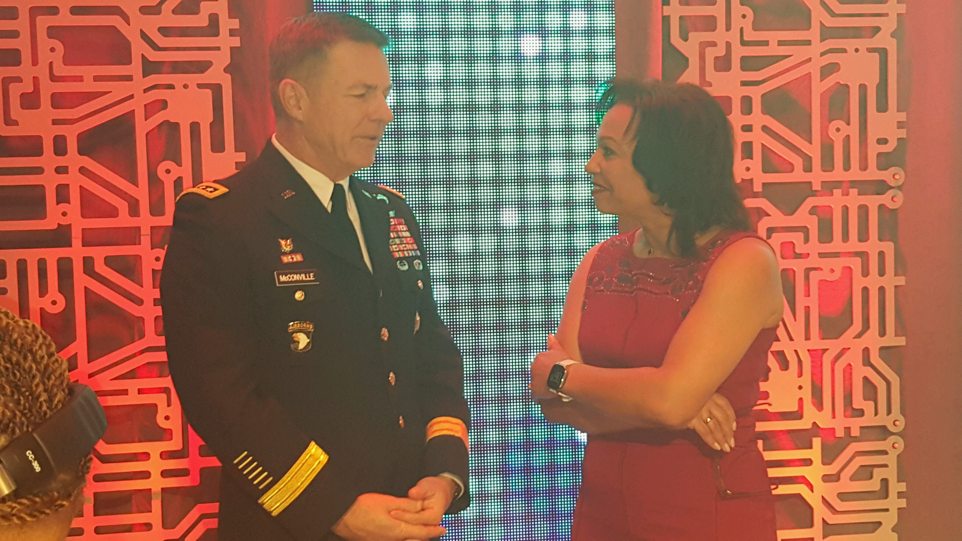 ABC7's Veronica Johnson honors U.S. Army engineers at the Black Engineer of the Year (BEYA) Stars & Stripes Award Dinner on February 9, 2018, in Washington, D.C. (ABC7)