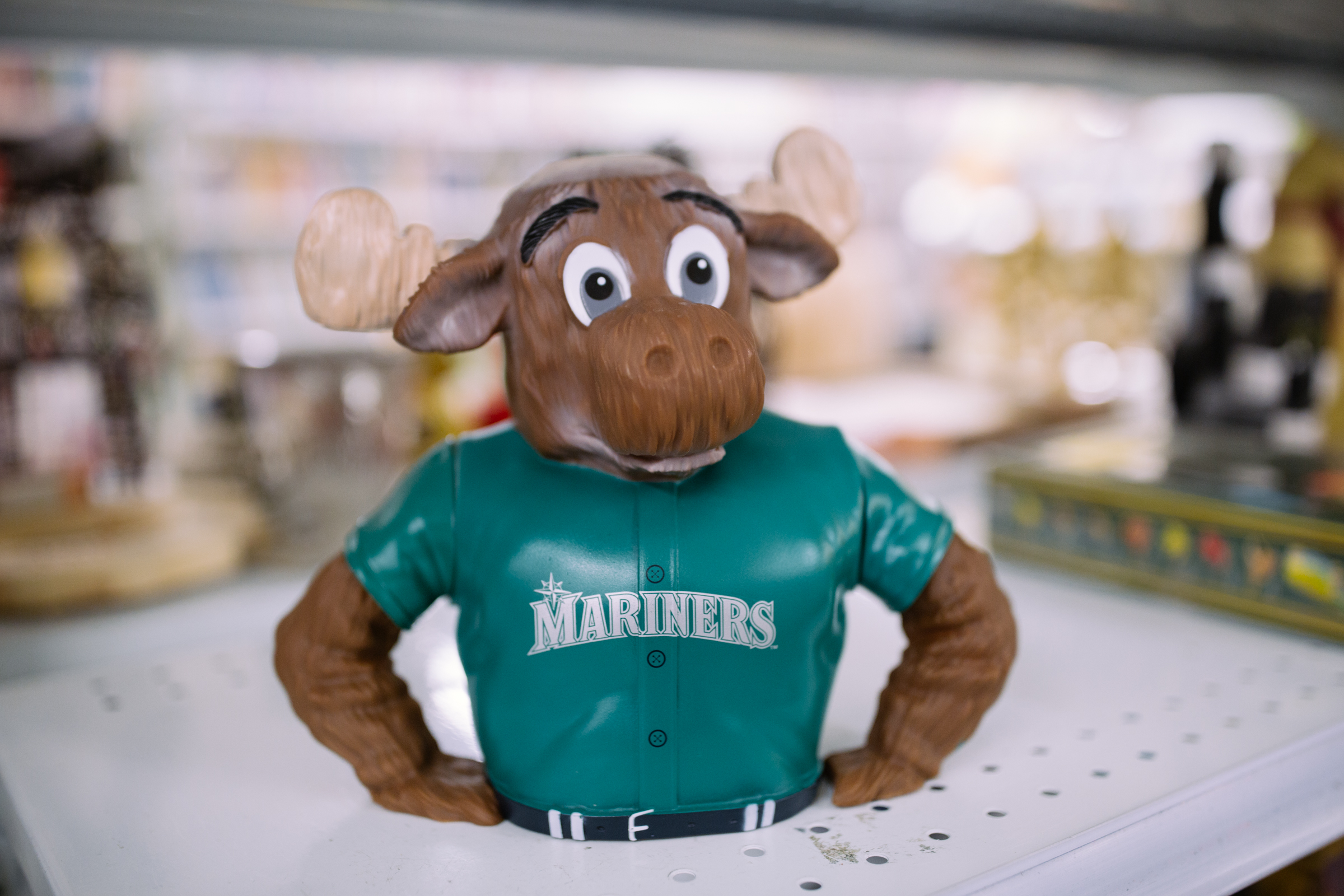 Mariner Moose piggy bank. $3.99                      Are you going to a White Elephant Gift Exchange this year? We headed to our local Value Village to give you some gift ideas and how much they cost. (Image: Joshua Lewis / Seattle Refined)