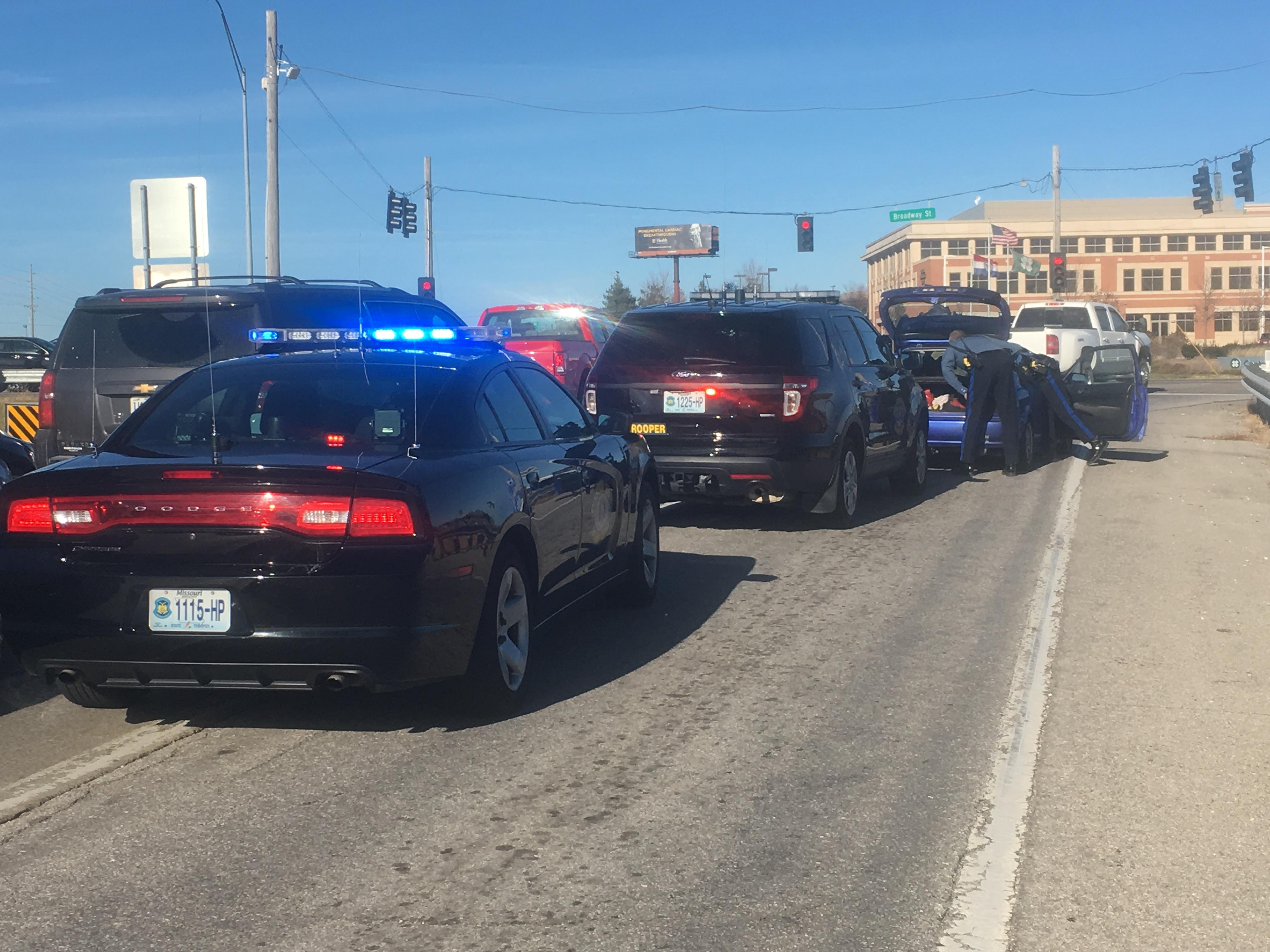<p>The Missouri State Highway Patrol said a man was arrested Tuesday afternoon following a high speed chase. (Mark Slavit/KRCG 13)</p>