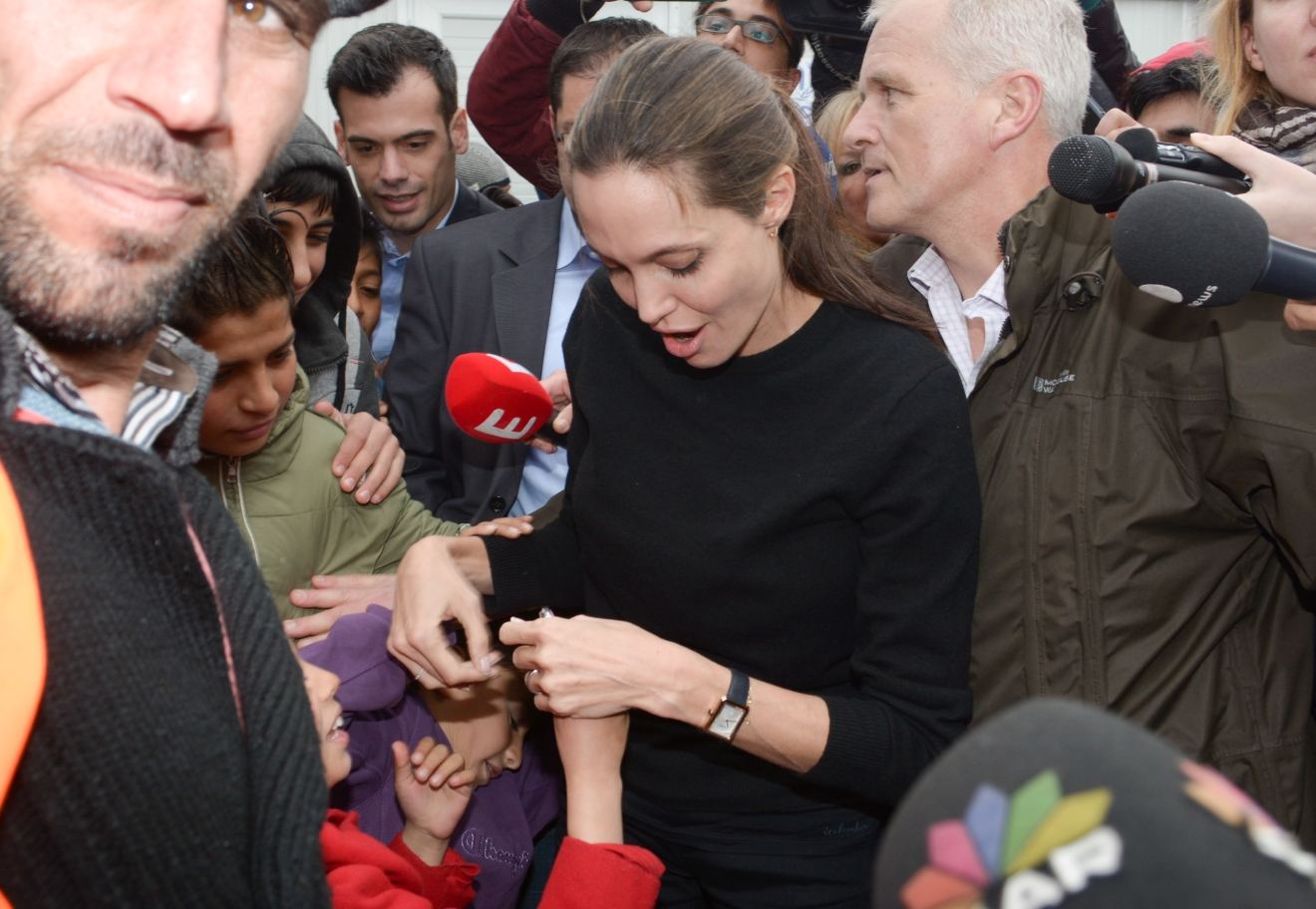 U.N. Goodwill Ambassador Angelina Jolie visits Piraeus to speak to refugees during her visit to Greece  Featuring: Angelina Jolie Where: Athens, Greece When: 16 Mar 2016 Credit: Papadakis Press/WENN.com  **Not available for Publication in Greece, Cyprus**