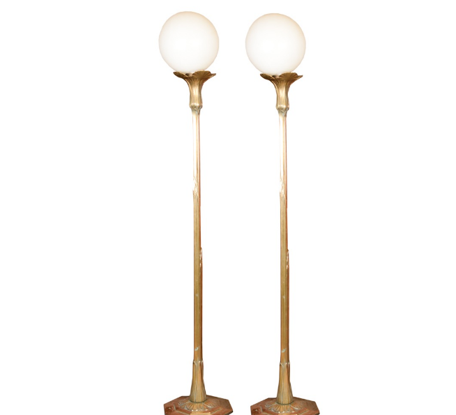 Pair Of Art Nouveau Brass Floor Lamps (Photo: Everything But The House)