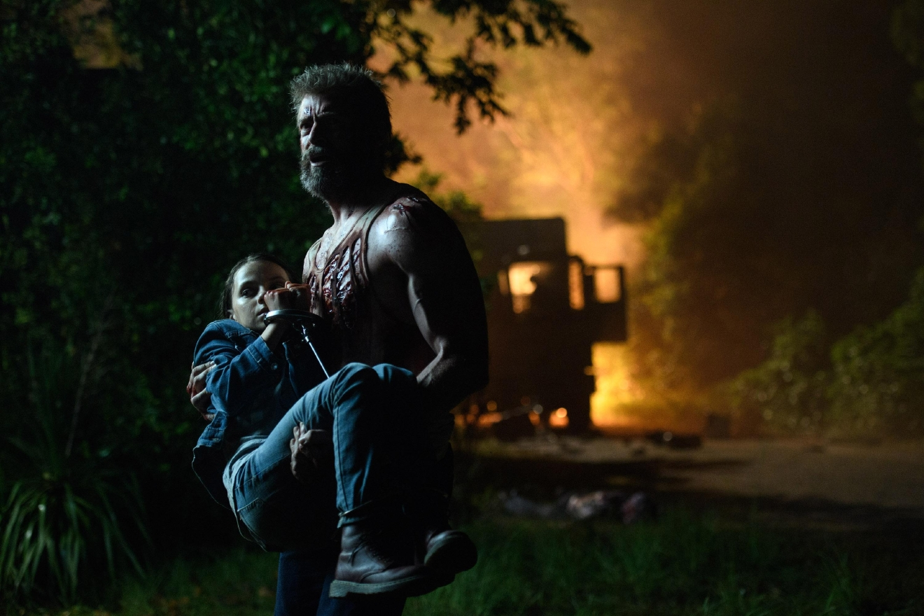 Hugh Jackman as Logan/Wolverine and Dafne Keen as Laura in LOGAN. Photo Credit: Ben Rothstein.