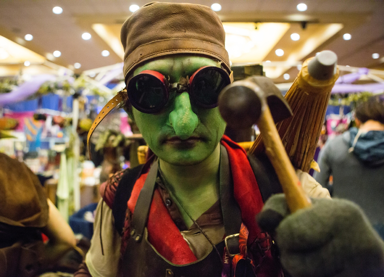 A goblin from Goblin Town inspects the camera at Mythicworlds Convention and Masquerades. (Sy Bean / Seattle Refined)