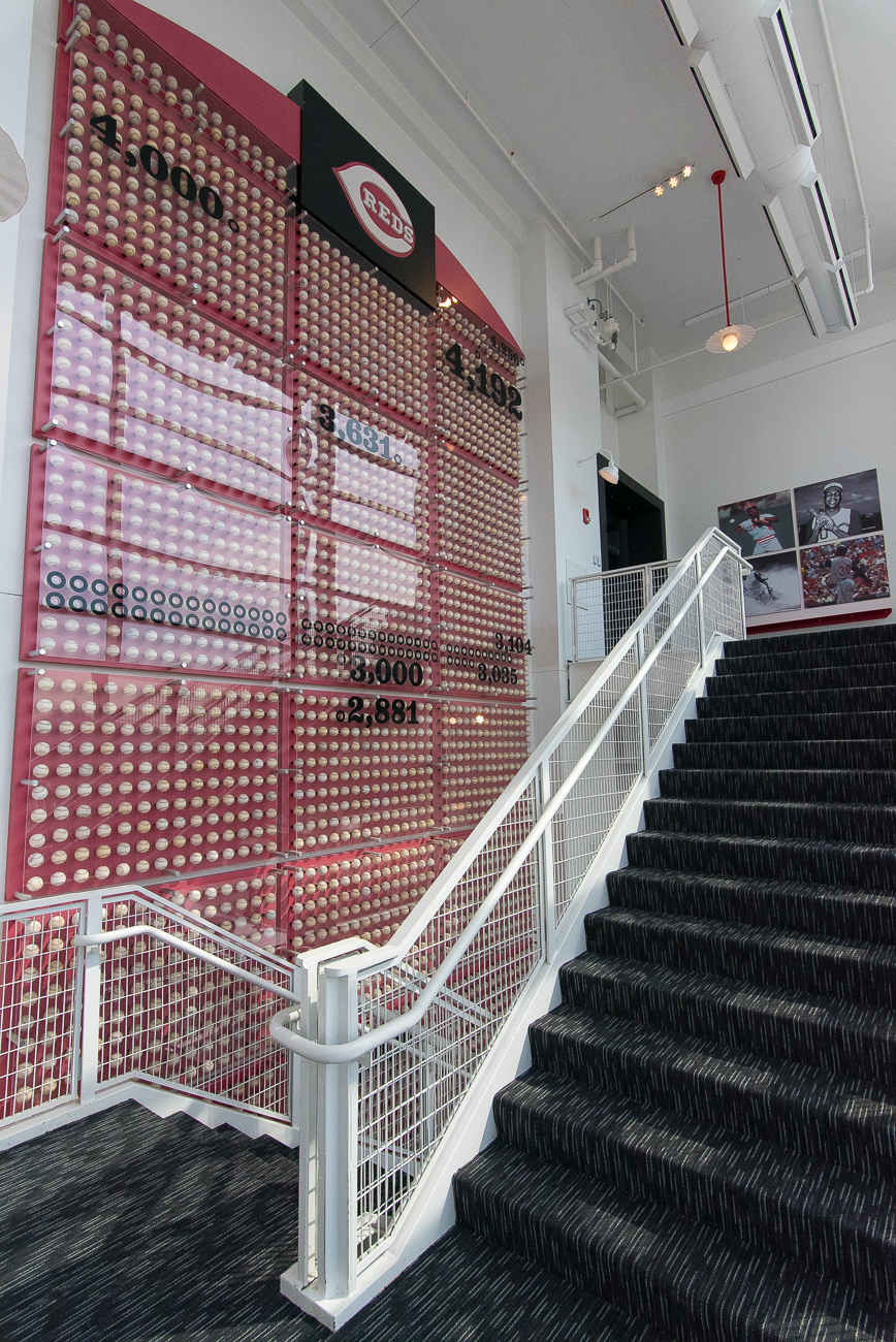 Notable pieces, such as the multi-story display of 4,192 baseballs representing Pete Rose's MLB hit record, stayed in the redesign. / Image: Phil Armstrong, Cincinnati Refined // Published: 4.20.19