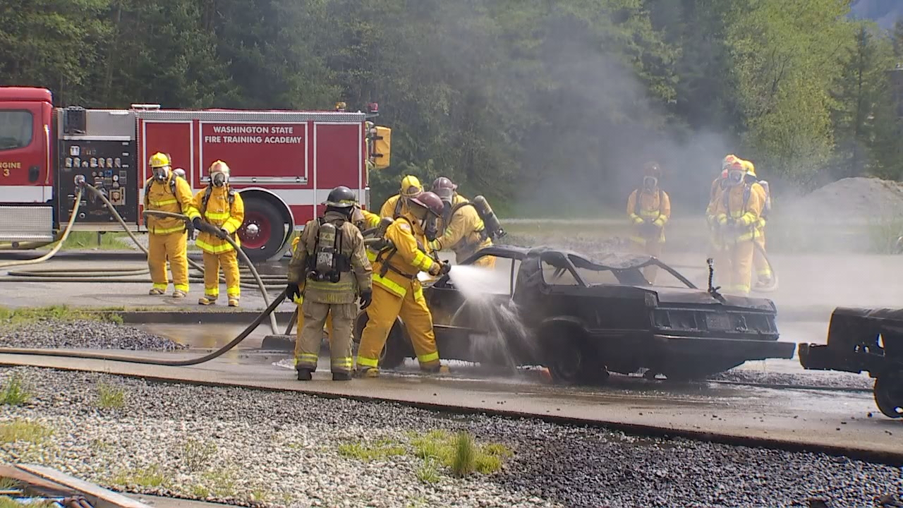 Washington State Ferry crews train to put out fires at a training center in North Bend, Wash. (Photo: KOMO News)
