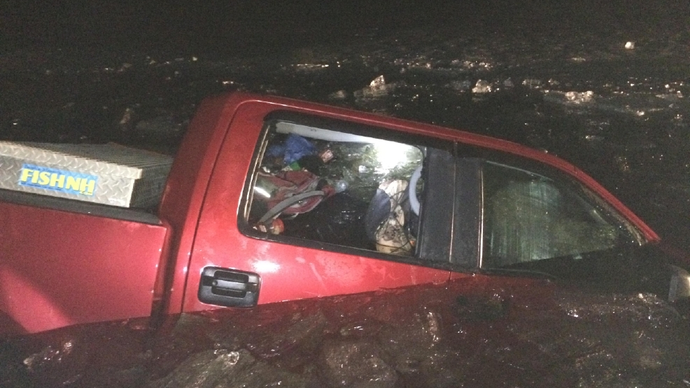 Truck falls through ice in nh man charged with oui wgme for Fish pond surgery center