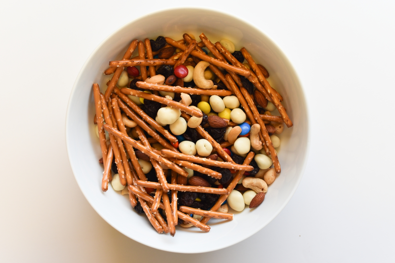 Trail Mix is an easy snack for on-the-go and making your own means you can have exactly what you want in it. This is a favorite recipe that satisfies the salty and sweet tastebuds but experiment to come up with your favorite combination.  (Image: Rebecca Mongrain/Seattle Refined)