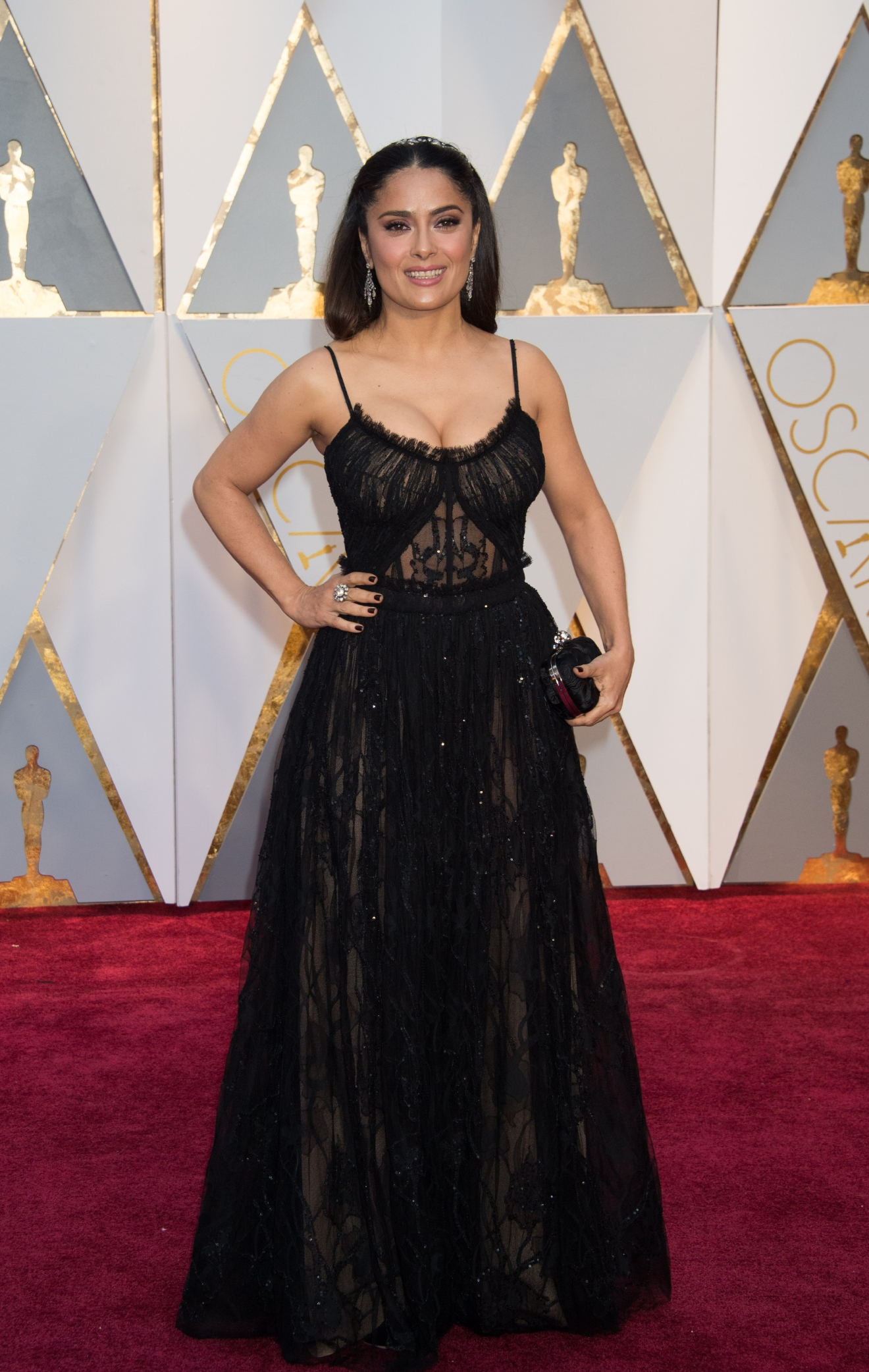 #23: Salma Hayek. It's hard for Salma not to be stunning - but we love the simple changes to a classic black dress that makes it stand out. (Image: AMPAS)