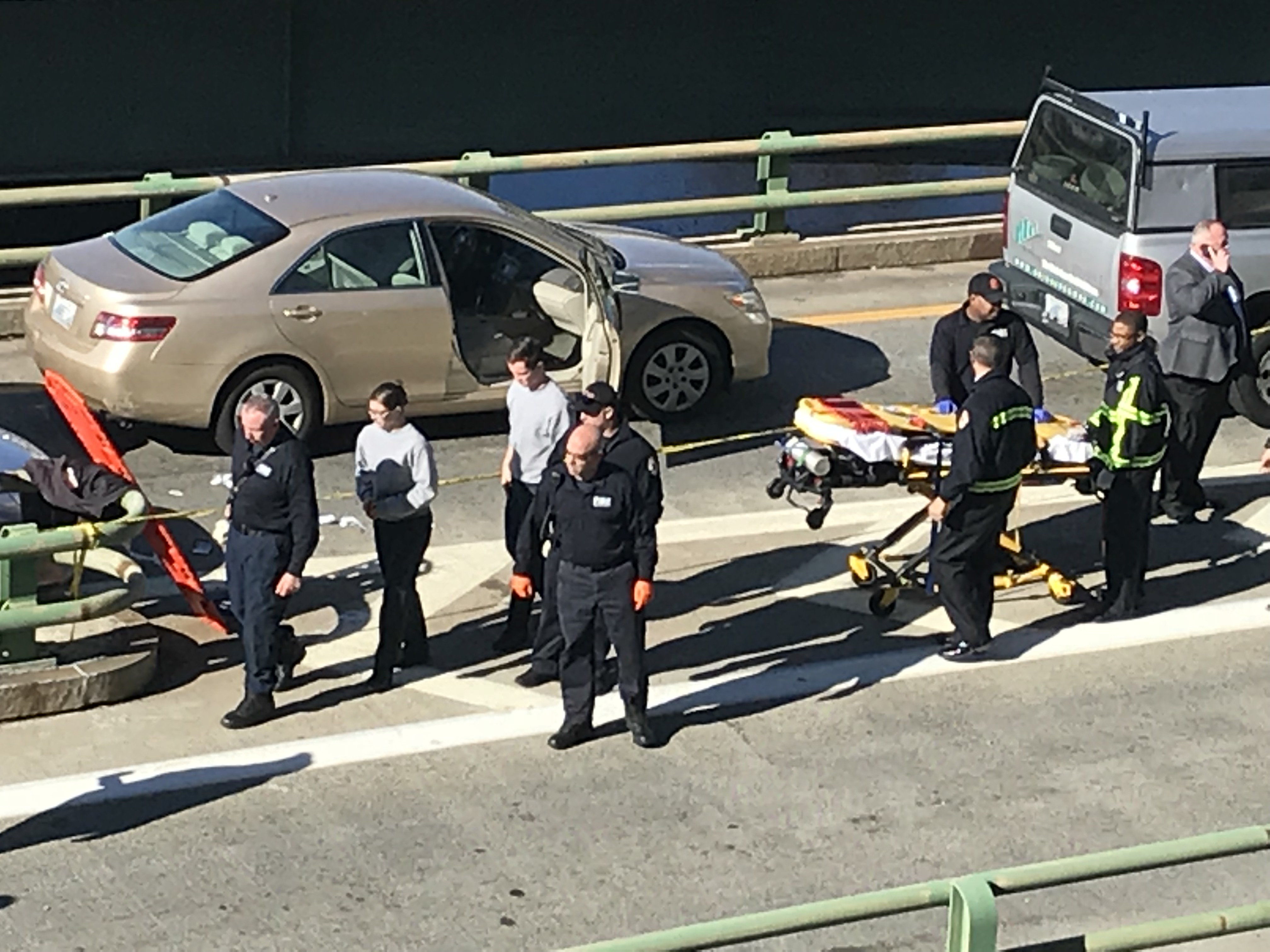 Providence police shot two people, one fatally, in a pickup truck on the ramp from Memorial Boulevard to Interstate 95 north, Thursday, Nov. 9. 2017.  (Courtesy Steve McLaughlin)