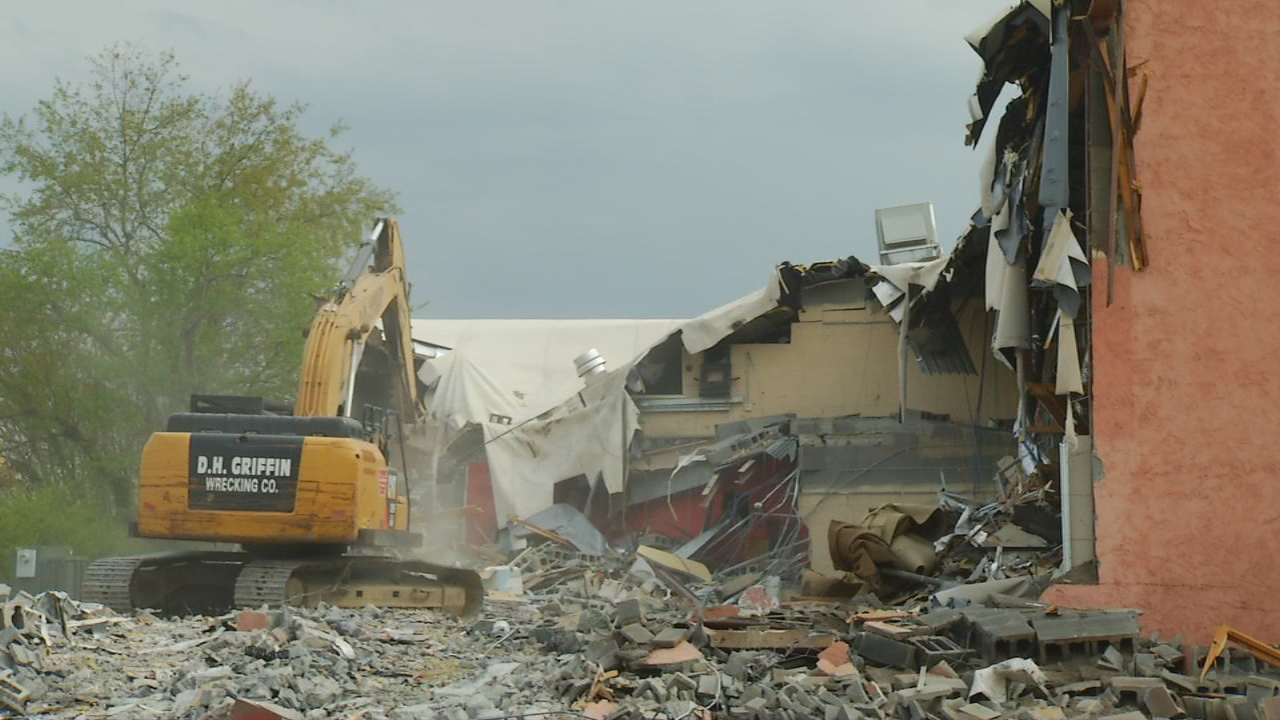 The walls of what was once a landmark movie theater in Asheville are starting to come down.  Demolition has begun on the old Beaucatcher Cinemas on Tunnel Road.  The theater has been there for decades. (Photo credit: WLOS Staff)