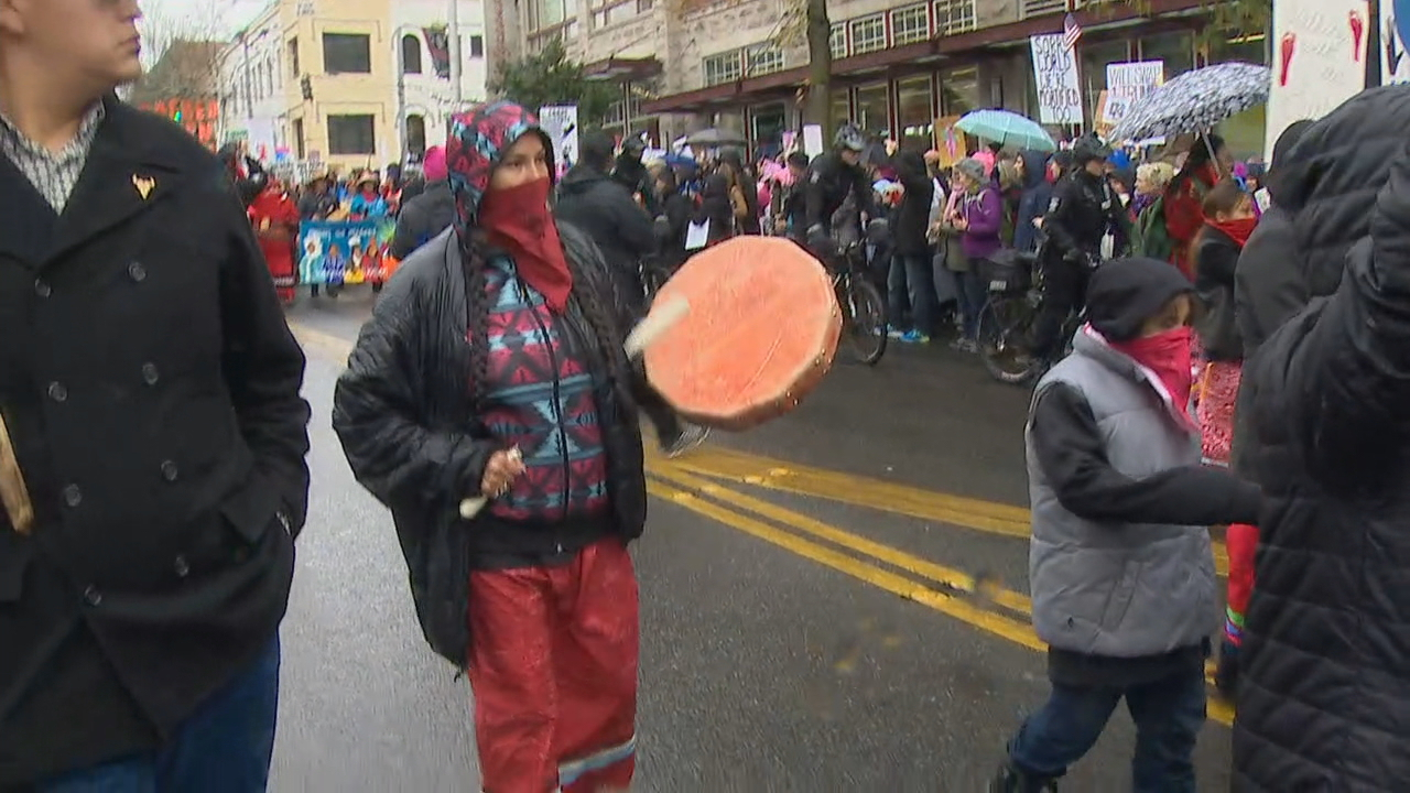 Marchers head to downtown Seattle. (Photo: KOMO News)<p></p>