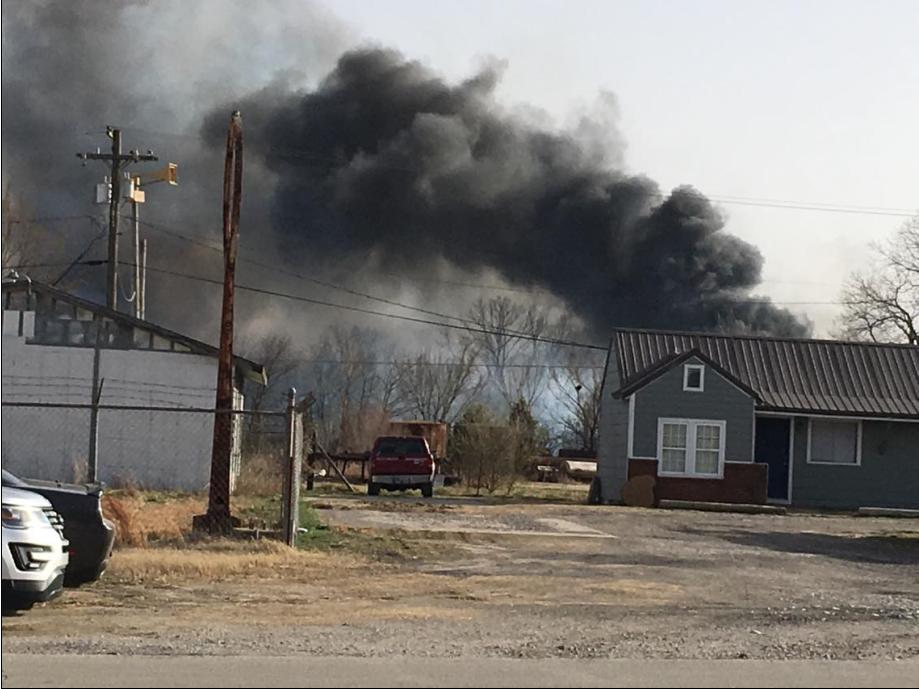 Henryetta grass fire came close to oil field equipment (Courtesy of Gene Roberts)