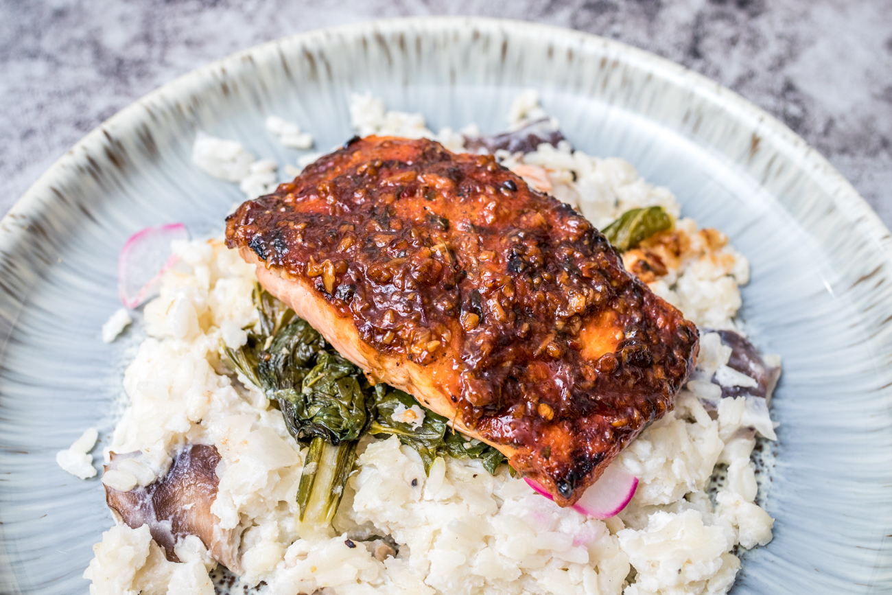 "PLACE: The View at Shires' Garden / ADDRESS: 309 Vine Street, 10th floor, (Central Business District) /{&nbsp;}Public Landing Salmon: 6oz wild caught wood-fired Chilean salmon, zesty garlic glaze, mushroom risotto, and garlicky greens /{&nbsp;}<a  href=""http://theviewatshiresgarden.com/order-carryout-online/"" target=""_blank"" title=""http://theviewatshiresgarden.com/order-carryout-online/"">Order online{&nbsp;}</a>or with{&nbsp;}<a  href=""https://www.doordash.com/store/the-view-at-shires-garden-cincinnati-962152/en-US/?utm_medium=website&utm_source=partner-link"" target=""_blank"" title=""https://www.doordash.com/store/the-view-at-shires-garden-cincinnati-962152/en-US/?utm_medium=website&utm_source=partner-link"">DoorDash</a>{&nbsp;}/ Image: Catherine Viox // Published: 1.10.21"