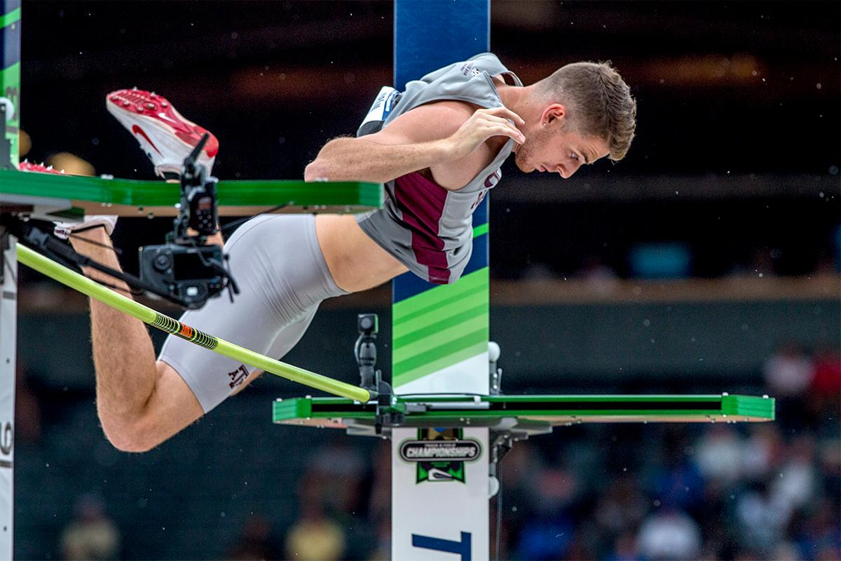 Texas A&M's Audie Wyatt clears the bar in the pole vault. Wyatt would finish seventh with a final height of 5.45 meters. Photo by August Frank, Oregon News Lab