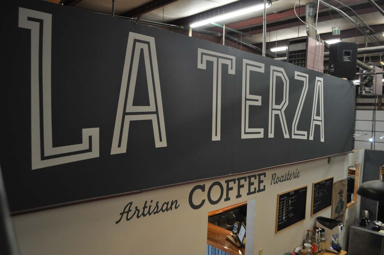 <p>La Terza operates a small cafe that's open to the public, serving drip coffee, espresso, tea, and more. Currently, the cafe's open for carryout only Monday through Friday from 8 AM to 5 PM. / Image: Liz Engel // Published: 7.27.20</p>