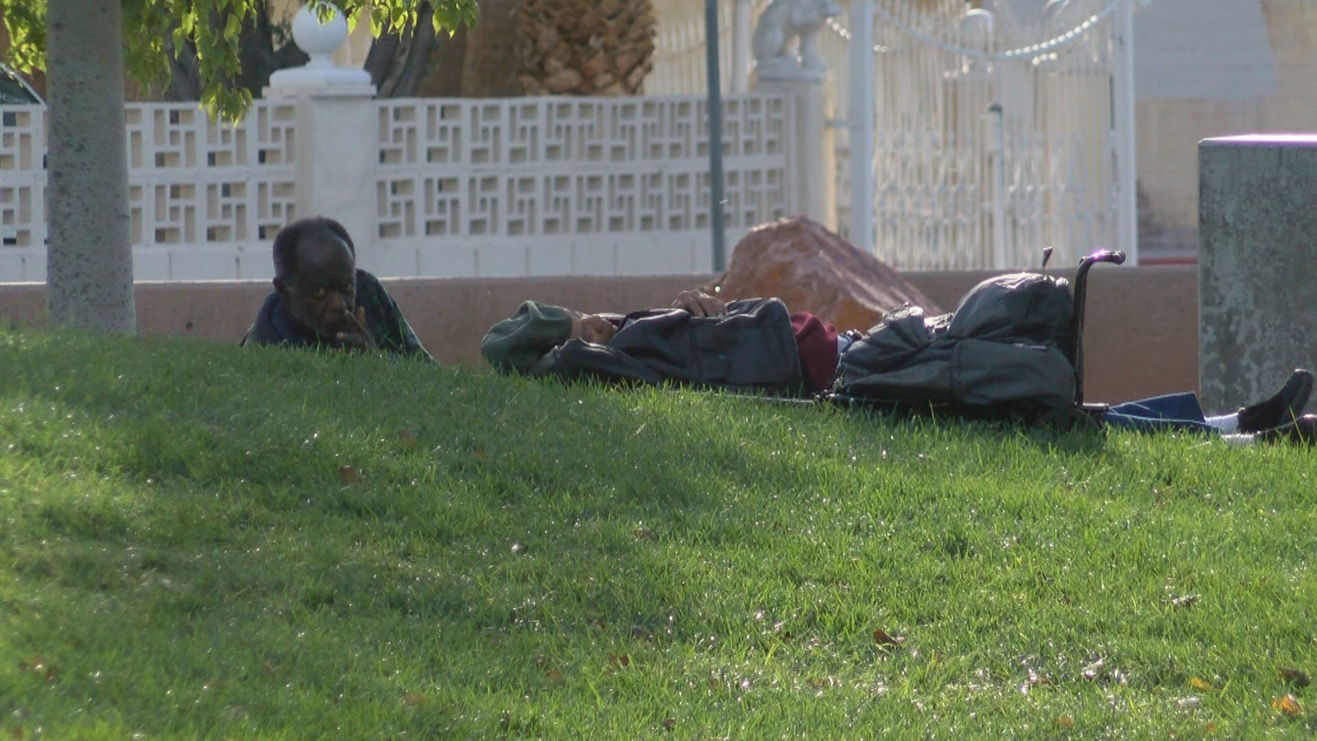 The homeless that don't get to a shelter make Huntridge Circle Park near Maryland Parkway and East Charleston Boulevard their temporary residence. (Scott Kost/KSNV)