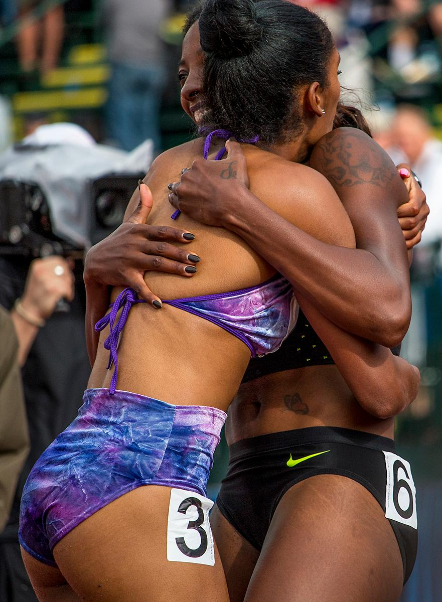 Kristi Castlin and Nike�s Nia Ali embrace eachother after qualifying for the women�s 200 meter dash in Rio. Day Eight of the U.S. Olympic Trials Track and Field continued on Friday at Hayward Field in Eugene, Ore. and will continue through July 10. Photo by Katie Pietzold