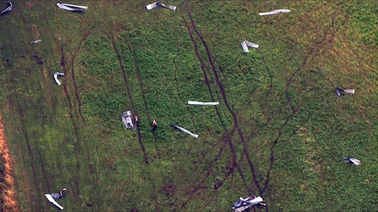 Debris from a possible tornado litters a field in Lacomb, Oregon on Tuesday, Sept. 19, 2017. (Photo: Chopper 2/KATU News)