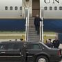 Toilet paper won't let go of Trump's shoe as he boards Air Force One
