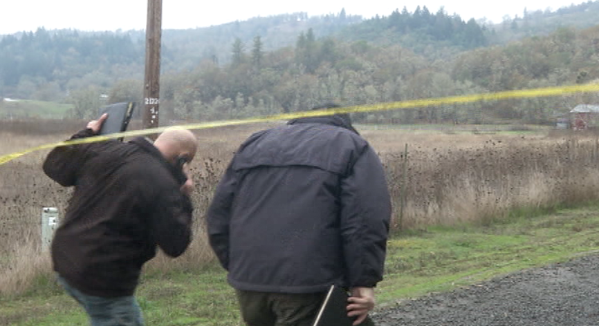Investigators remained on scene throughout the day November 8, 2017, after responding to a triple homicide on Whispering Pines Way in the Lookingglass area southwest of Roseburg, Oregon. (SBG)