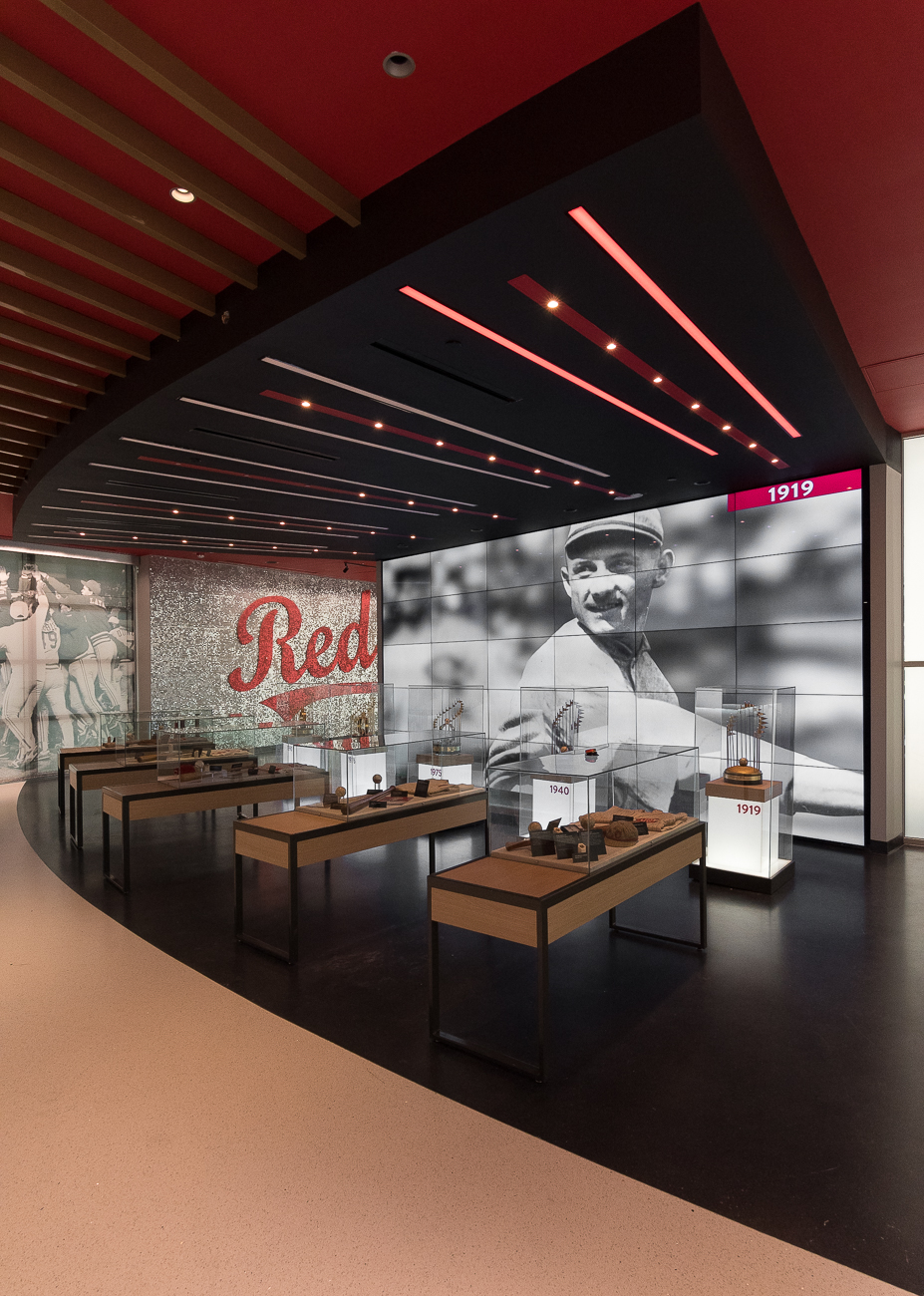 The Reds won World Series titles in 1919, 1940, 1975, 1976, and 1990. Each World Series win is represented in a large room at the end of the Hall of Fame Museum. That spacious room is also now rentable by the public to host private events. / Image: Phil Armstrong, Cincinnati Refined // Published: 4.20.19