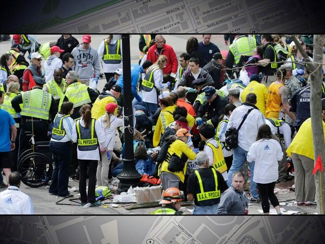 Medical workers aid the injured following explosions at the finish line of the 2013 Boston Marathon.