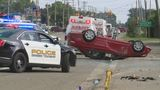 Rollover crash sends two to the hospital