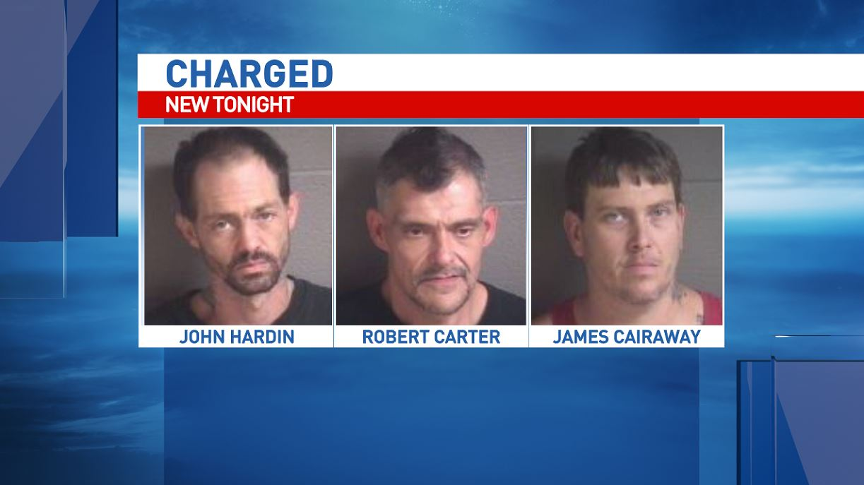 John Wesley Hardin, 38, Robert Kyle Carter, 40, and James Michael Cairaway, 37, are all charged with first-degree forcible sex offence in connection with a reported sexual assault in Black Mountain. (Photo credit: Buncombe County Sheriff's Office)