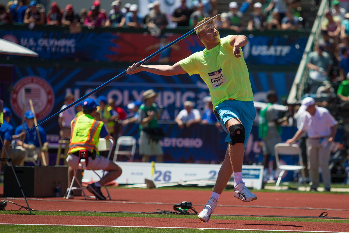 Former Oregon Duck Sam Crouser places 5th in the javelin, advancing him to the next round. Day Two of the U.S. Olympic Trials Track and Field were held Saturday at Hayward Field in Eugene, Ore. and will continue through July 10. Photo by Dillon Vibes