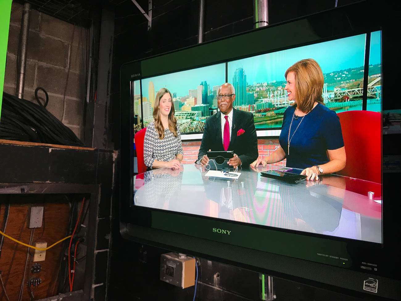 Meteorologist Tera Blake with Local 12 News anchors John Lomax and Sheila Gray{ }/ Image: Katie Robinson, Cincinnati Refined // Published: 10.5.18