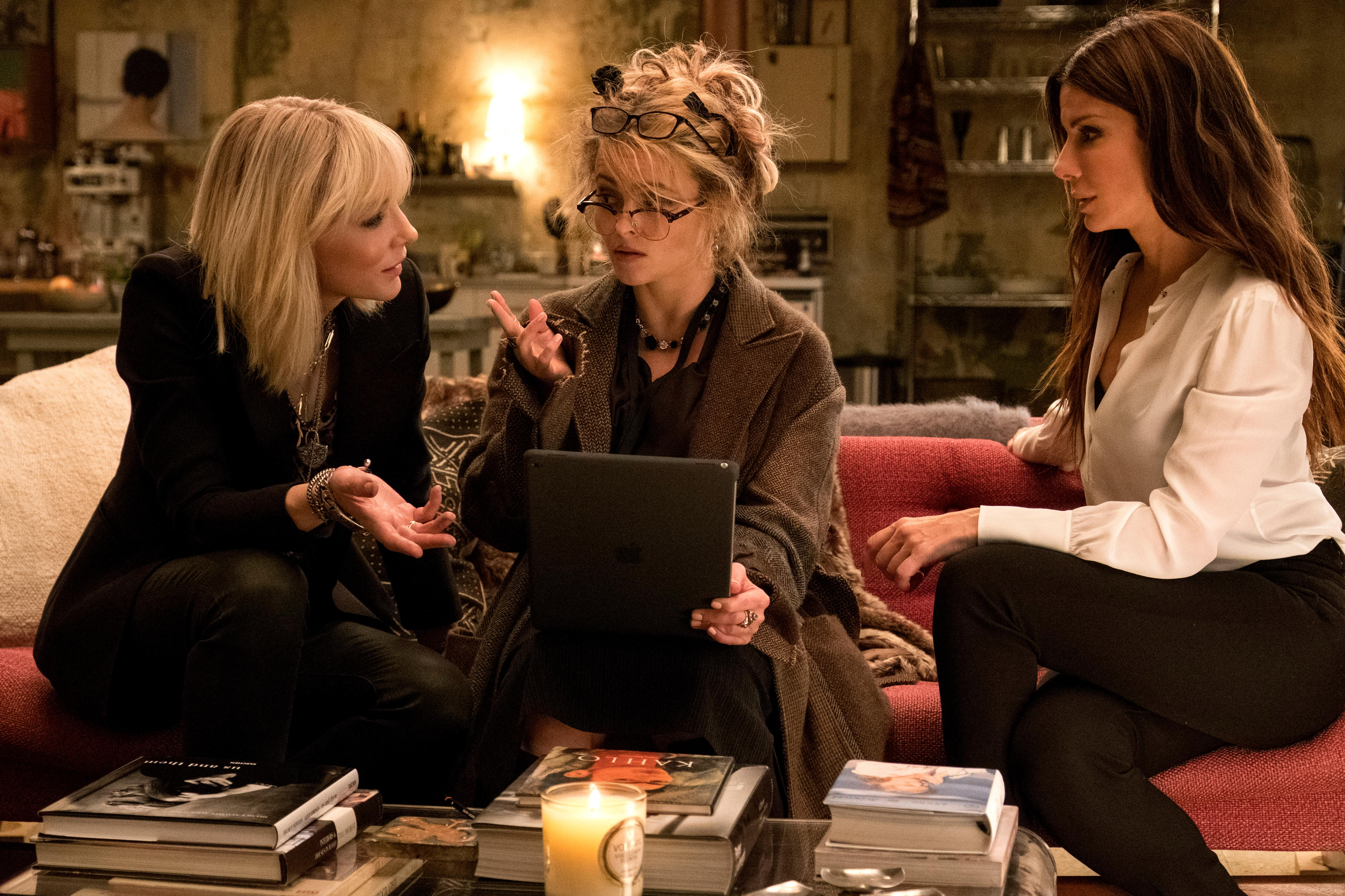"(L-R) CATE BLANCHETT as Lou, HELENA BONHAM CARTER as Rose and SANDRA BULLOCK as Debbie Ocean in Warner Bros. Pictures' and Village Roadshow Pictures' ""OCEANS 8,"" a Warner Bros. Pictures release. (Photo: Barry Wetch/ Warner Bros.)"