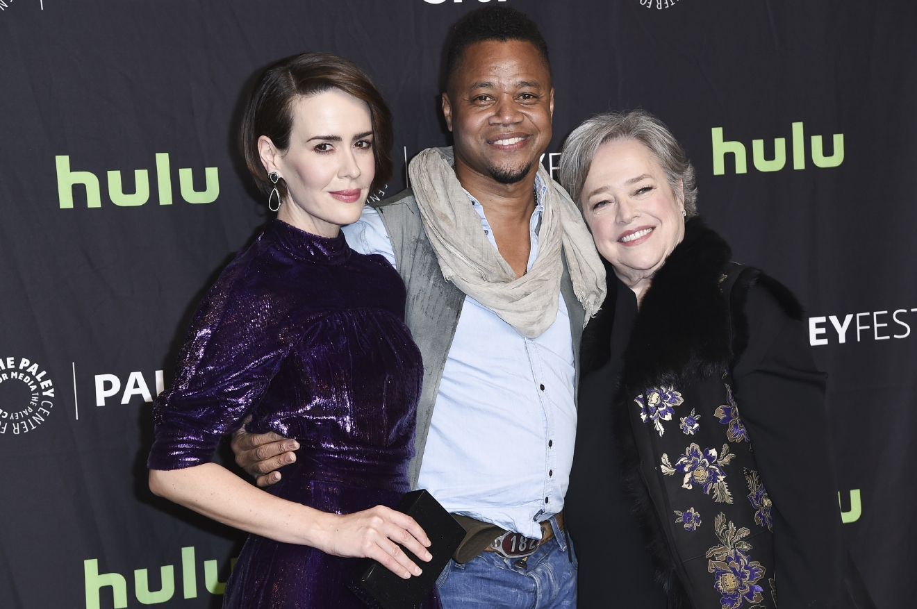 "Sarah Paulson, from left, Cuba Gooding Jr., and Kathy Bates attend the 34th annual PaleyFest: ""American Horror Story: Roanoke"" event at the Dolby Theatre on Sunday, March 26, 2017, in Los Angeles. (Photo by Richard Shotwell/Invision/AP)"