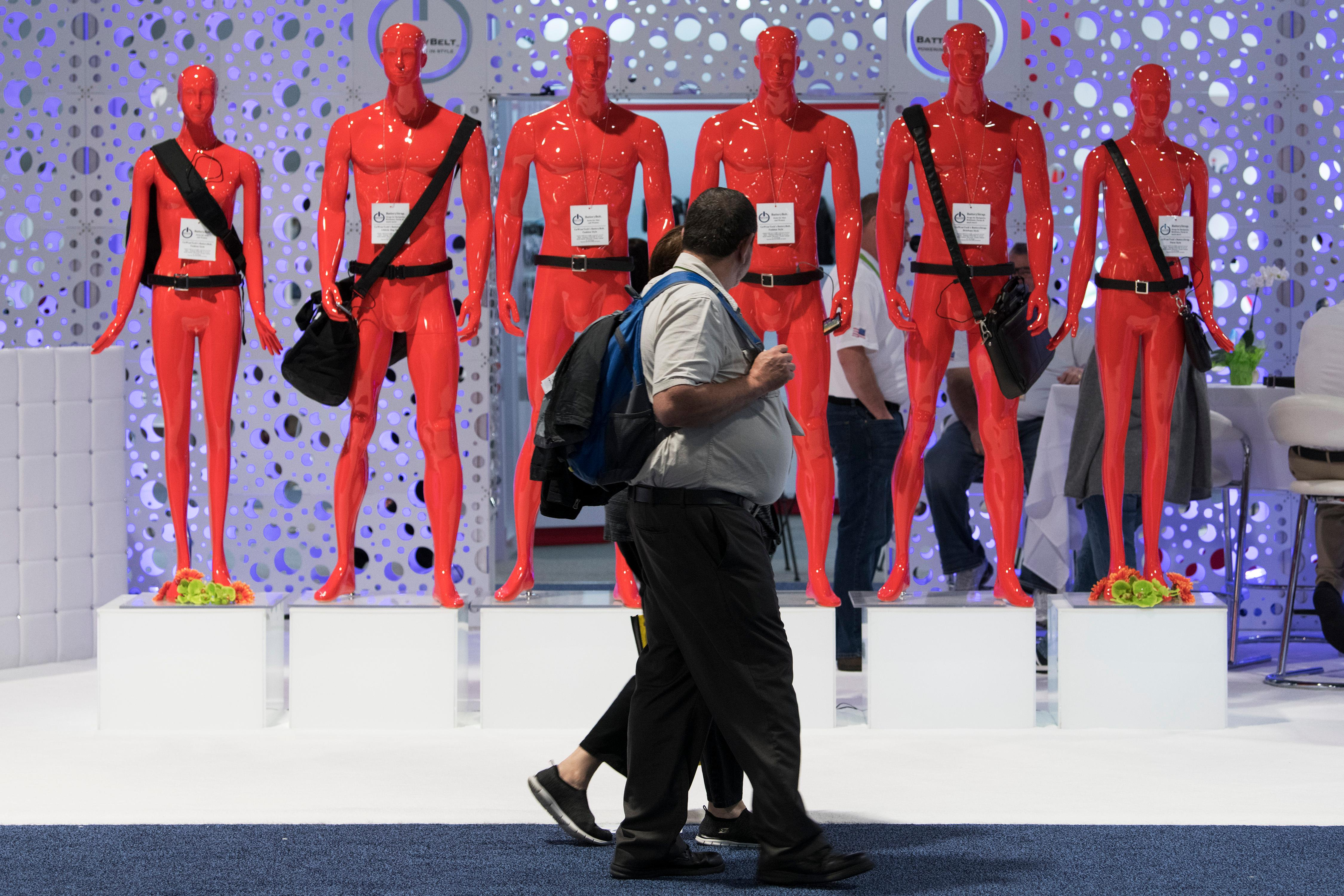 A display of mannequins show off Battery Belts from GoWearTech during the second day of CES Wednesday, January 10, 2018, at the Las Vegas Convention Center. CREDIT: Sam Morris/Las Vegas News Bureau