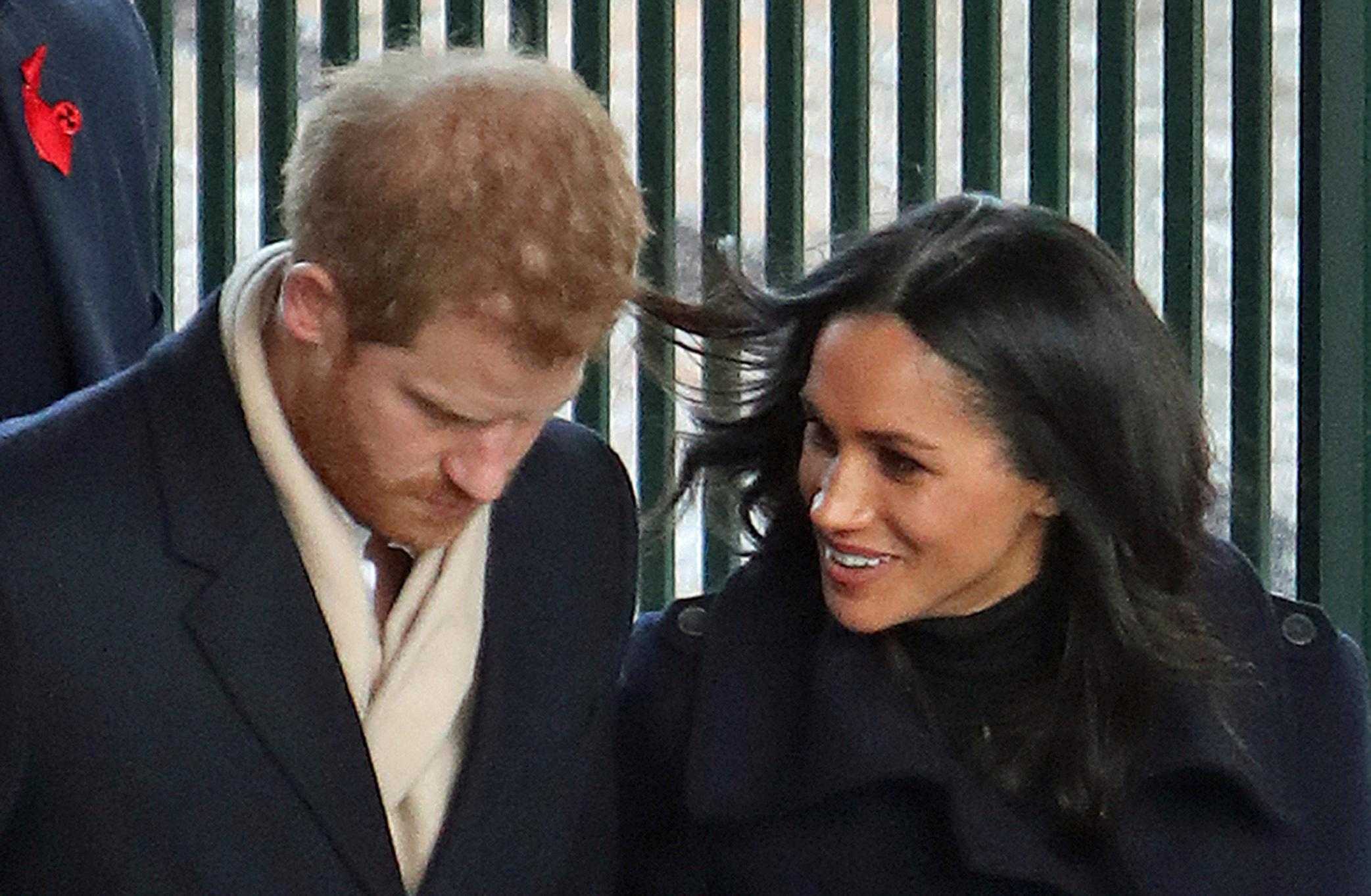 Britain's Prince Harry and Meghan Markle arrive at Nottingham Station in Nottingham England ahead of their first official engagement together Friday Dec. 1, 2017.  This is the couples  first public event since the announcement of their engagement on Monday. (Steve Parsons/PA via AP)
