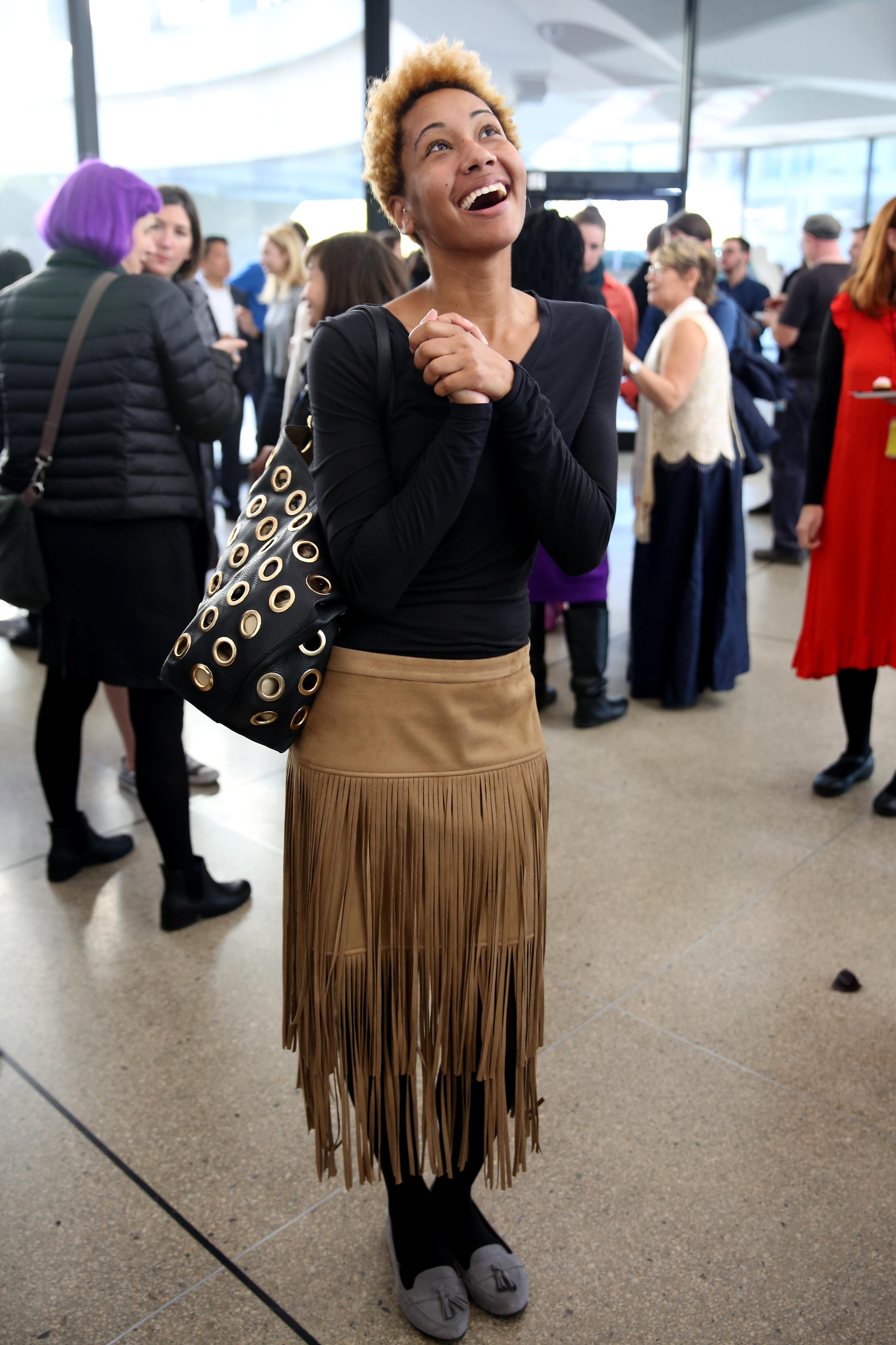 Jessica Johnson's long fringe skirt is to die for - plus, we dig that it coordinates with her shoes! (Amanda Andrade-Rhoades/DC Refined)<p></p>