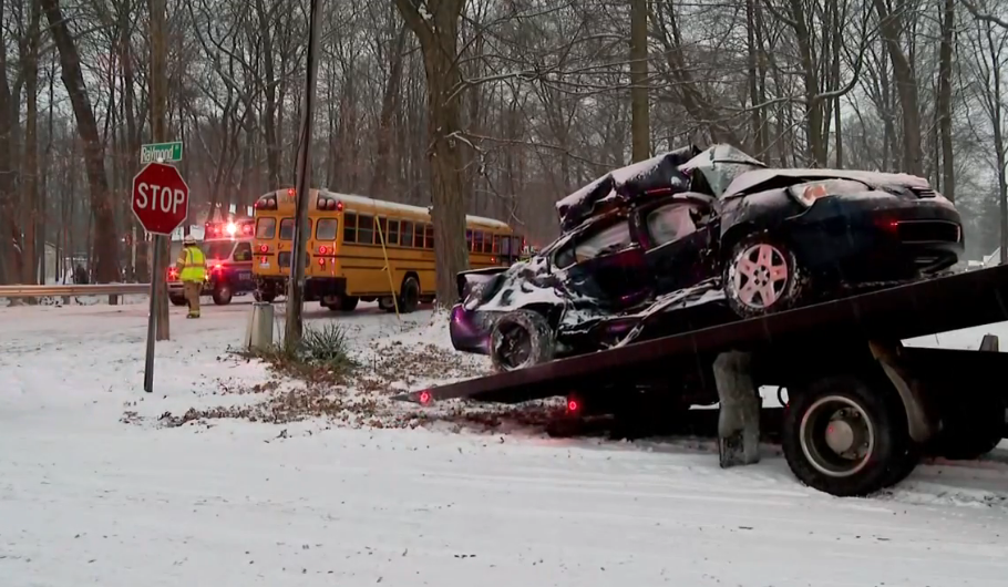 UPDATE: Car driver seriously injured in Cass County crash involving school bus. // WSBT 22